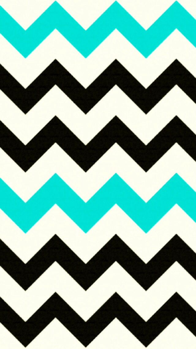 Black and Turquoise Chevron iPhone background. CUTE!  Wallpaper  Pinterest  iPhone