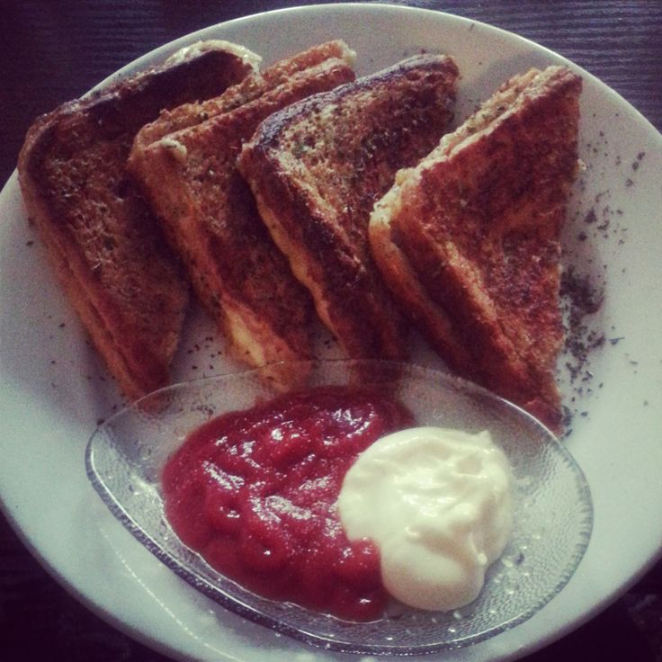 #french #toast #cheese #ham #basil #egg #milk #ketchup #mayo #breakfast