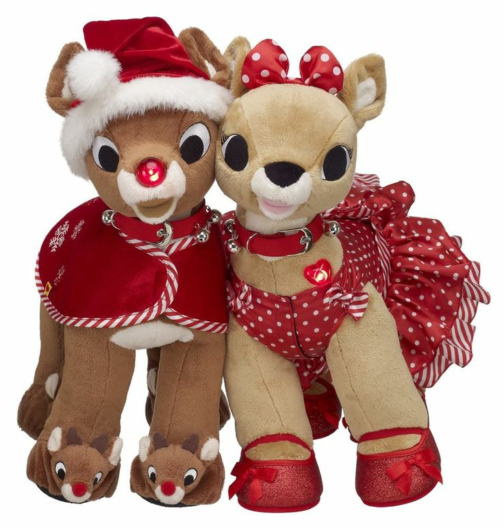 NWT Build A Bear Workshop 2012 Rudolph the Red Nosed Reindeer Clarice & Outfits #BuildABearWorkshop