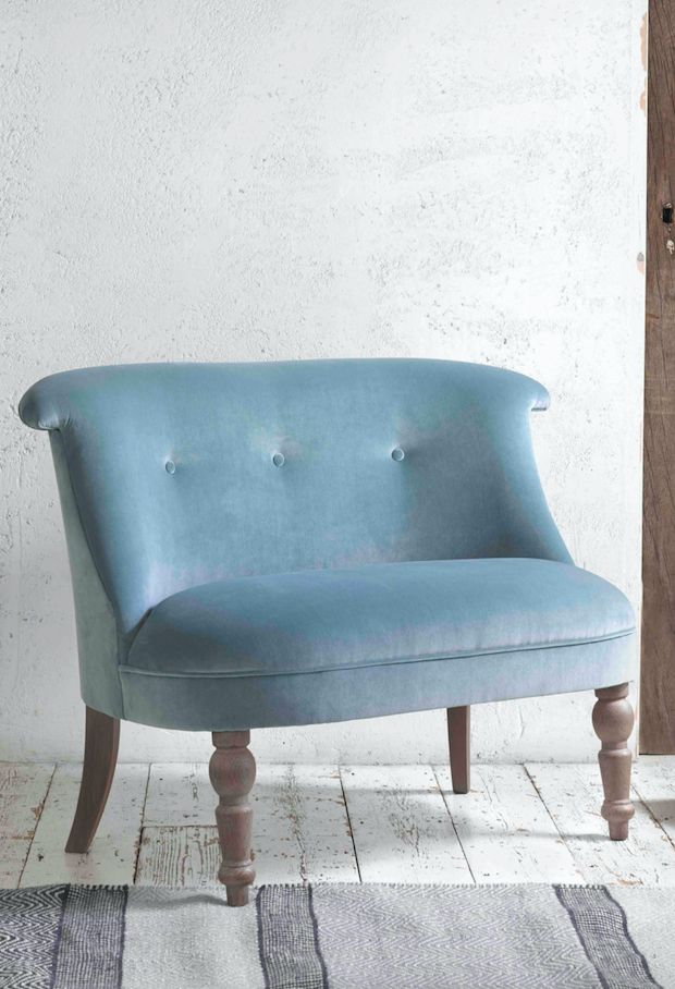 Is it a cute mini-sofa? Or is it an over-sized elegant armchair? The Grand Bovary occasional chair looks fab in the bedroom, dressing room or a living space. Handmade in Britain, this true classic comes with solid weathered oak legs and is upholstered here in Lagoon clever velvet. Available in over 120 gorgeous fabrics.