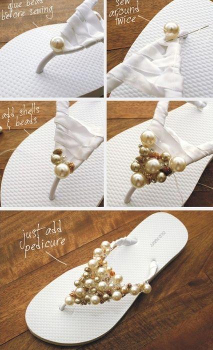 Как украсить шлепки/вьетнами своими руками