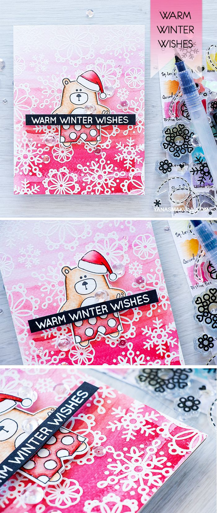 Warm Winter Wishes with Simon Says Stamp Summertime Animals Bear and Cute Snowflakes stamps! For details, visit http://www.yanasmakula.com/?p=54875