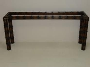 Vintage Faux Bamboo Console With Glass Top Available In Our
