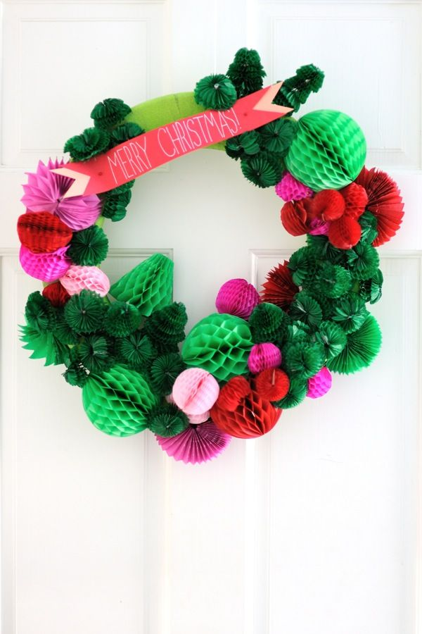Honeycomb Wreath DIY via @Jordan Ferney | Oh Happy Day!
