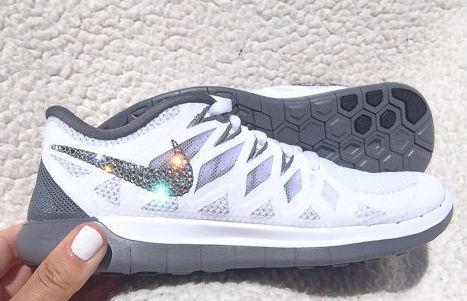 Crystal Nike Free 5.0 White Pure Platinum Clear Gray Bling Womens Running Shoes w Swarovski Crystals