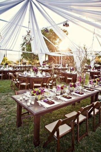 low centerpieces: Outdoor Wedding, Wedding Tables, Tables Sets, Wedding Receptions, Low Centerpieces, Wood Tables, String Lights, Outside Wedding, Outdoor Receptions