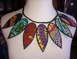 african fabric necklace    by Paintedthreads by paintedthreads2