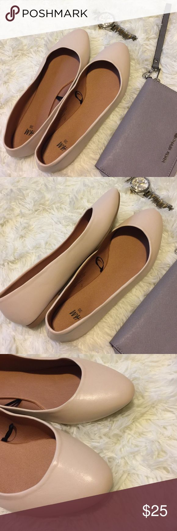 Flats Neutral flats NWOT   ➳ no offsite sales ➵ good vibes only ࿊ use that offer button H&M Shoes Flats & Loafers