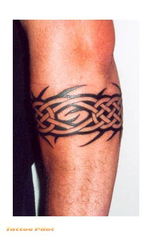 Male Arm Band Tattoos-Nice idea, looks like celtic knots. Basic design for a few changes maybe, or, maybe not,