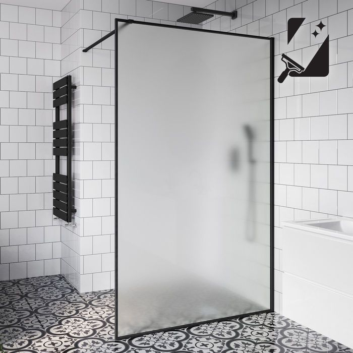10mm Black Frame Frosted Glass Shower Screen 1200mm Soak Com Bathroominteriordesignwithglasspartition Glass Shower Glass Shower Panels Glass Shower Wall