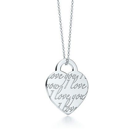 Tiffany & Co Outlet Notes I Love You charm and chain