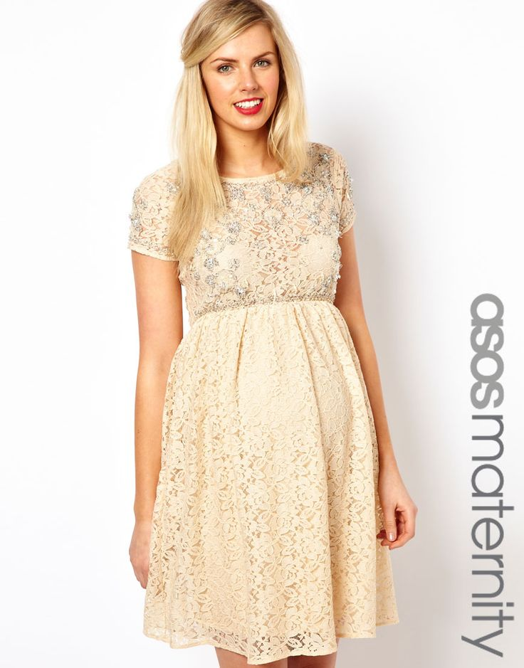 ASOS Maternity Lace Skater Dress With Embellishment