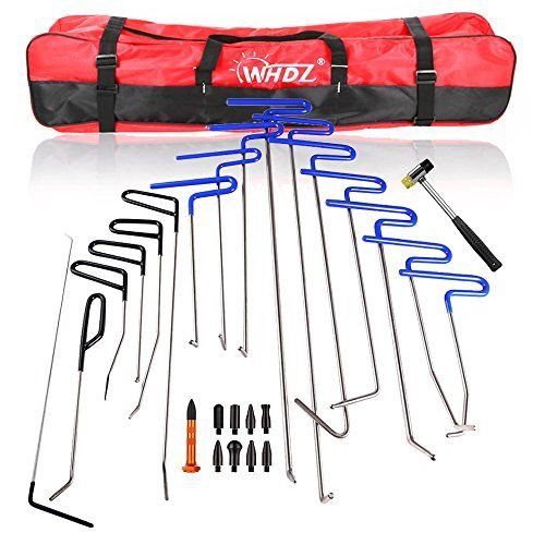 WHDZ PDR Rods 16pcs Auto Body Dent Repair Hail Damage Removal Tools with Dent Hammer Tap Down PDR Rods Tool for Car Dent Ding Removal ** You can get more details by clicking on the affiliate link Amazon.com.