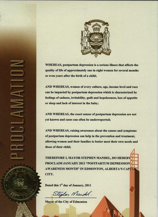 Proclamation from Edmonton, Alberta; January, 2011.