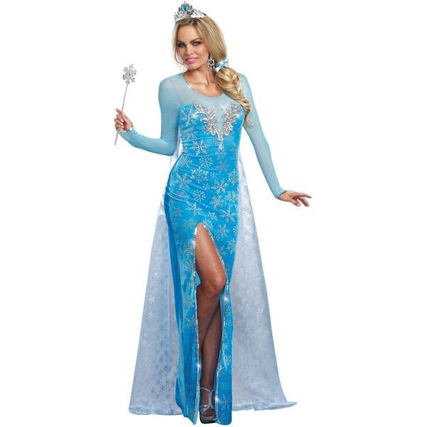 Womens The Ice Queen Costume (£33) ❤ liked on Polyvore featuring costumes, halloween costumes, blue costume, sexy halloween costumes, sexy women costumes, queen costume and sequin costume