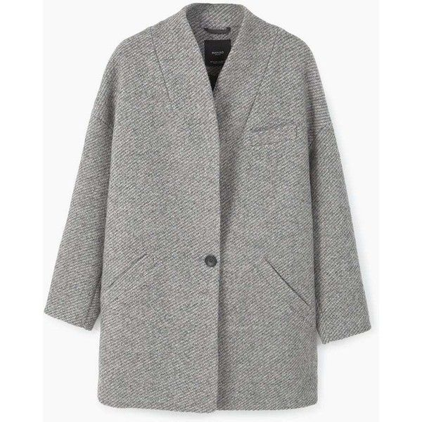 MANGO Cocoon Wool-Blend Coat (7.670 RUB) ❤ liked on Polyvore featuring outerwear, coats, jackets, coats & jackets, manteau, fur-lined coats, long sleeve coat, wool blend coat, cocoon coats and mango coats