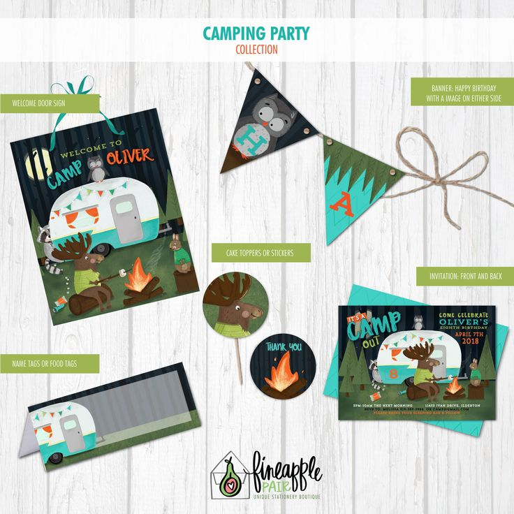 Camping Birthday Invite, Camping Boy Birthday Invitation, Camping Birthday, Camping Party Package, Camping Birthday Printable, Camping DIY by FineapplePair on Etsy