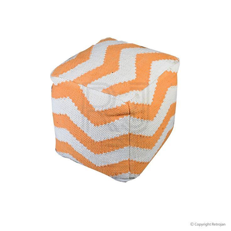 Funky Chevron Pouf - Orange | $149.00