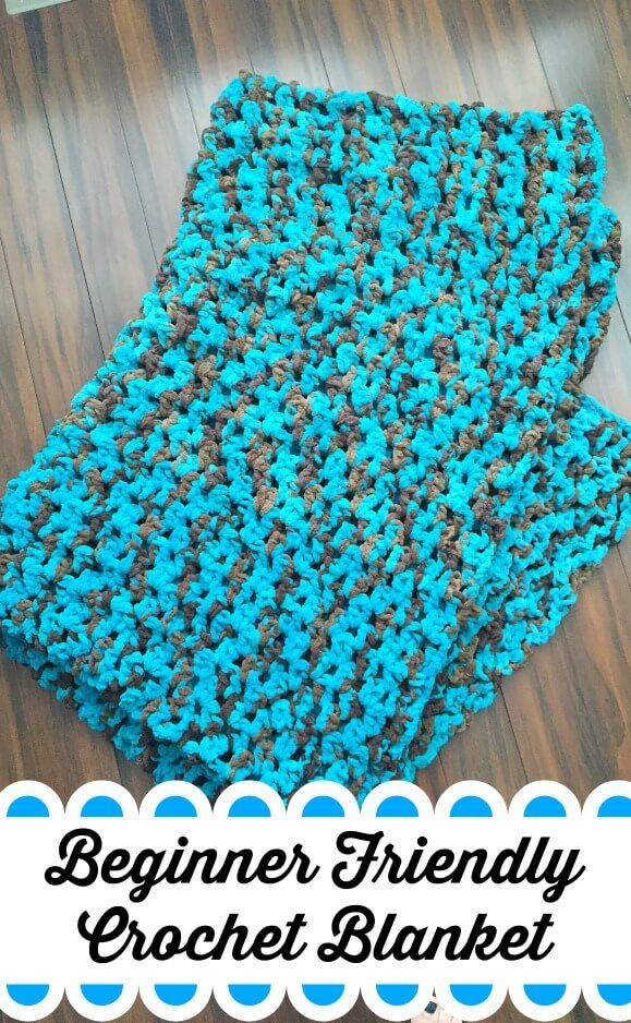 Beginner Friendly Crochet Blanket Pattern using Bernat Blanket Yarn. Perfect DIY project for the beginner.