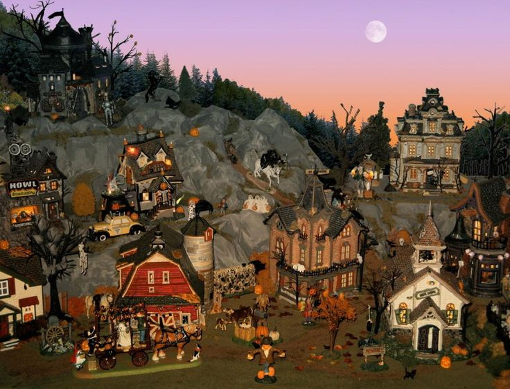 halloween village display department 56 halloween village great hills and background