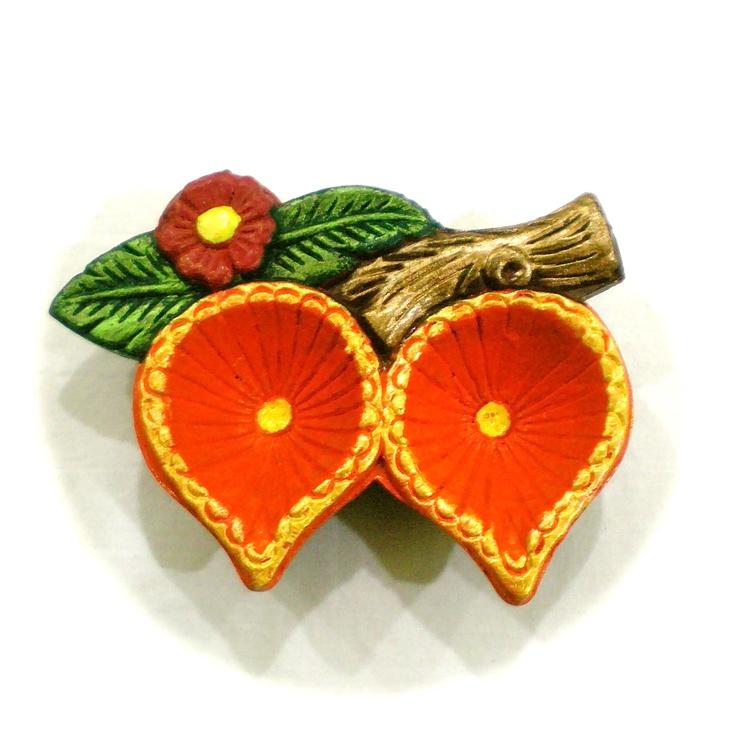 Orange Twin Diya