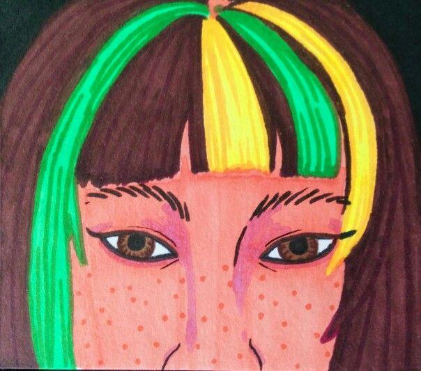 ROYGBIV Series: Yellow-Green. Sharpie. Nicole Horel.