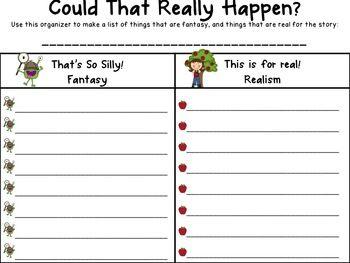 Free Fantasy vs. Realism Graphic Organizer for Literature