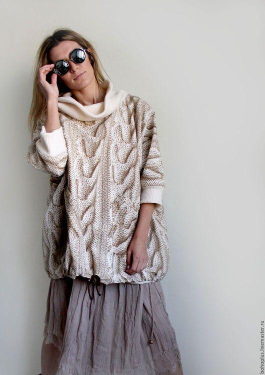 """Верхняя одежда ручной работы. Ярмарка Мастеров - ручная работа. Купить Куртка- свитер на подкладе  """"Лондон2"""". Handmade. Бежевый, бохо"""