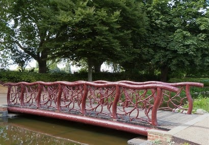 Bridge in Bishhop's Park, Fulham.   Yes, it really is iron.