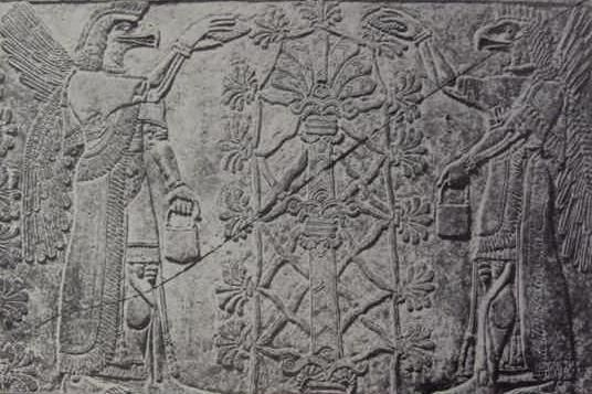 Sumerian tablet. Cultivating the leaves, or anointing the royal DNA.