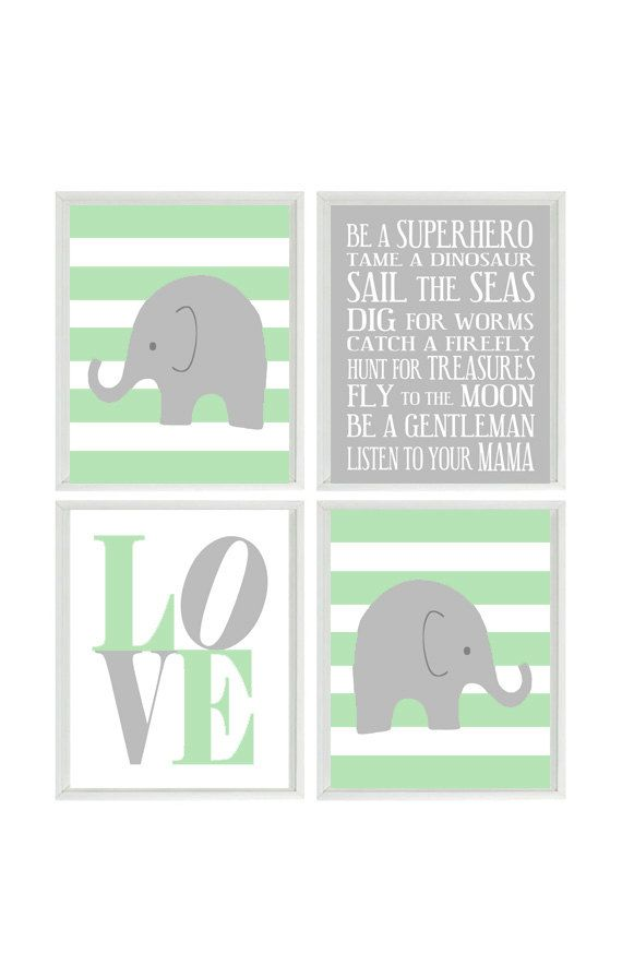 Nursery Art Elephant Stripes Baby Boy Nursery by RizzleandRugee- accent with aqua