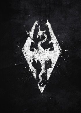 skyrim elder scrolls video game dragon bethseda white black splat splatter logo emblem symbol