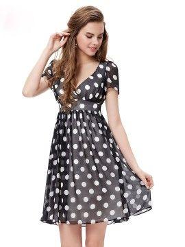 Shop Black Contrast Polka Dot Print V Neck Chiffon Dress from choies.com .Free shipping Worldwide.$55.99