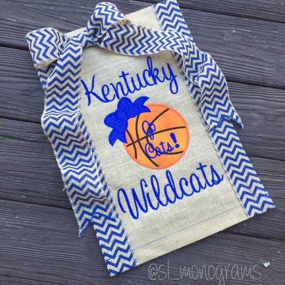Kentucky Basketball Monogram Burlap Yard Flag