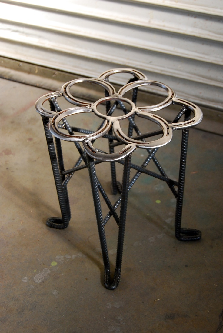 Augie made this welder's stool out of used horseshoes and rebar.