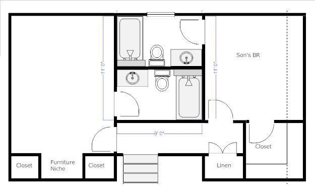 Jack & Jill separate bathroom. here's an idea