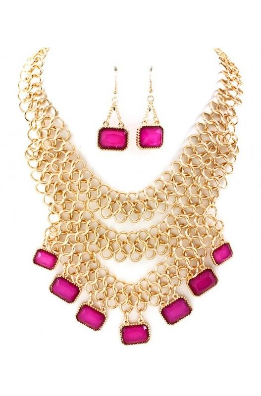 """Flirty Framboise"" Necklace Earring Set-  Limited Item In Stock! Available at 50% Discount. Shop Now!"