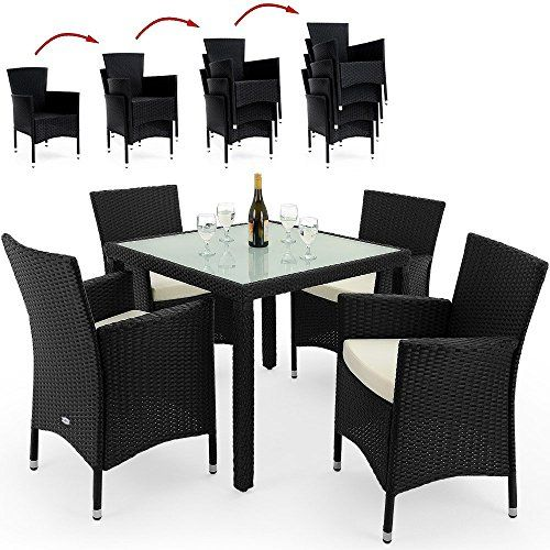poly rattan garden furniture set model choice 4 6 or 8 chairs with dining table rectangular glass top outdoor patio conservatory stackable black or brown