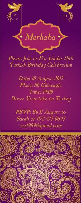 Purple and gold birthday wedding invitation design by Very Cherry Design Studio