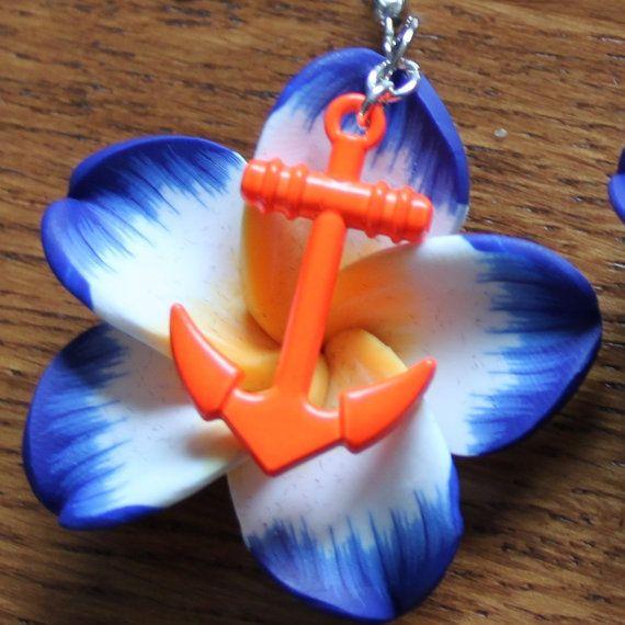 Oorbellen met fimo polymeer bloem met houten anker door MissFrauque, €8.95