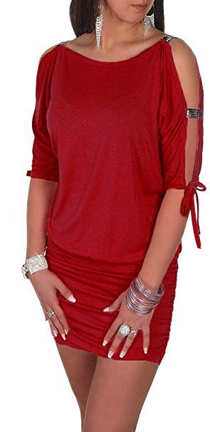 3a33eb1a98f Glamour Empire Women s Open Sleeve Stretchy Jersey Tunic Mini Dress 157  (Crimson