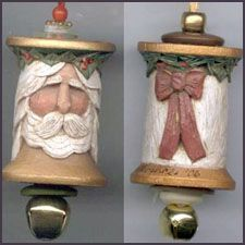 EKDuncan - My Fanciful Muse: Hand Carved Thread Spool Santa - Vintage Find
