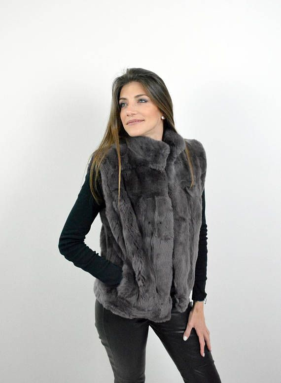 Rex Rabbit Fur Vest made with Genuine Fur Women Sleeveless