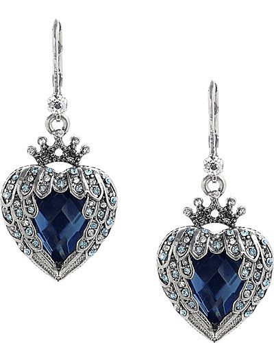 Betsey Johnson $40 // Little silver crowns top faceted, winged hearts of blue on these wear-with-everything drop earrings.