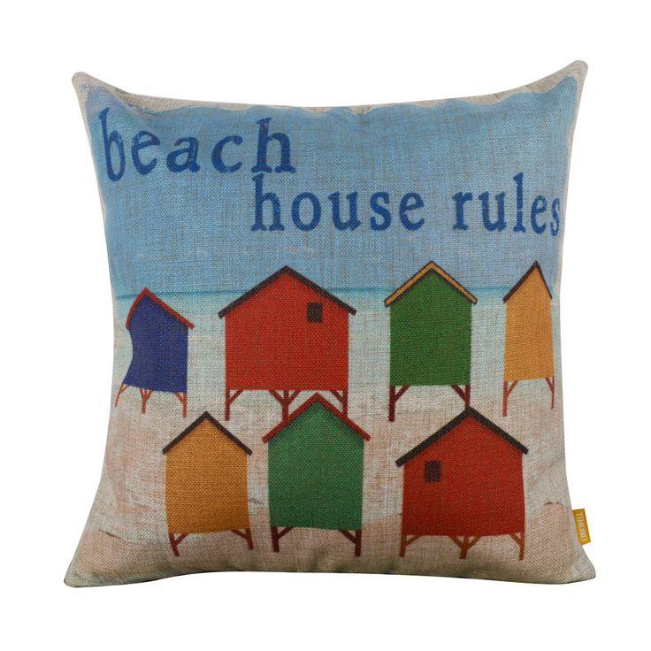 """18"""" Summer Colors Beach House Rules Sea Nautical Cushion Cover Throw Pillow Case"""
