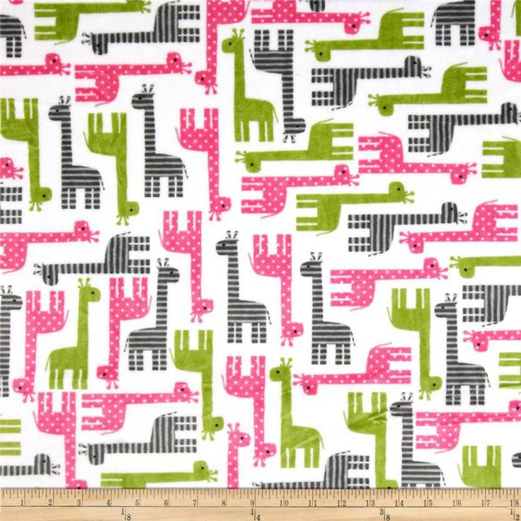 Pink Green Giraffe Minky