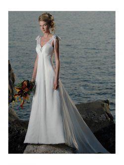 une ligne-robes de mariage de plage v-cou train en mousseline de soie