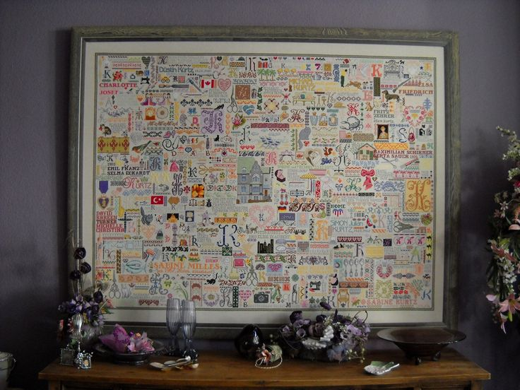 Huge cross stitch `Family Sampler´, 200 colors, antique & modern designs, unique arrangement & free-style work, the design is like a personal `family tree´ (5,600 working hours) - used also as example for my workshops  -  http://la-couronne.de/