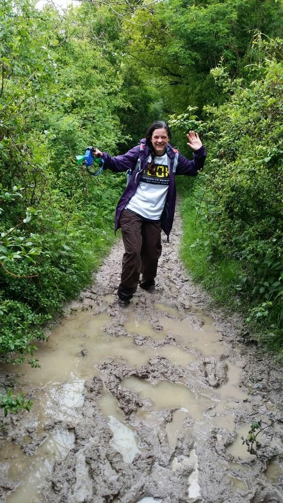 Nikki's dedication to train for #Walk100 is taking her across many muddy paths but she's still smiling! To find out what Nikki's is doing to raise money for #BlindVeteransUK please visit her just giving page: http://www.justgiving.com/StrideOnTime