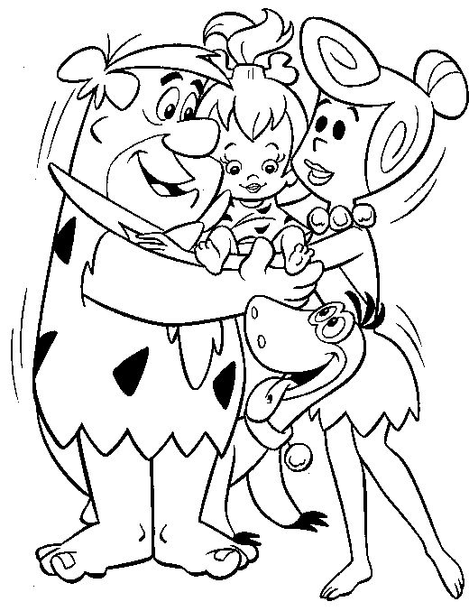 flintstones coloring pages back print the flintstones coloring page - Coloring Stencils